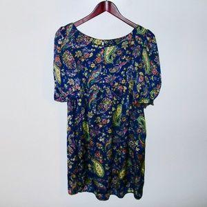 Topshop | Paisley Blue Green Midi Dress